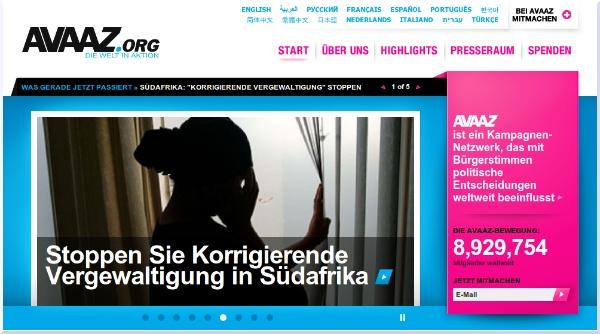 Website von Avaaz